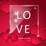 La placa de cristal con los corazones Amor Foto de archivo