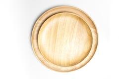 La placa de madera o la bandeja de la visión superior aisló el fondo blanco Foto de archivo libre de regalías