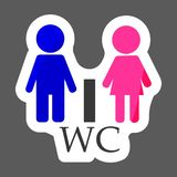 La placa de la puerta del WC/del retrete coloreó el icono del vector de la etiqueta engomada hombre y wom ilustración del vector