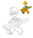 La placa del colorante - trabajador de construcción - ejemplo para los niños con avance Imágenes de archivo libres de regalías
