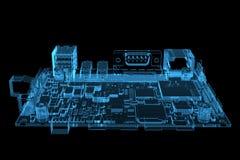 La placa madre 3D del ordenador hizo la radiografía azul stock de ilustración