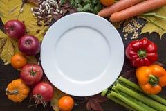 La placa vacía blanca y el vegano hindú adietan la opinión superior de la comida Foto de archivo libre de regalías