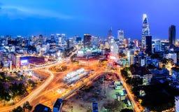 La place d'Uach Thi Trang et le thanh de Ben lancent Ho Chi Minh City sur le marché Photographie stock