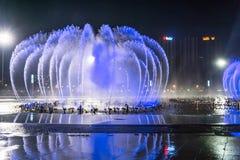 La place de fontaine de musique est à Dalian Image libre de droits