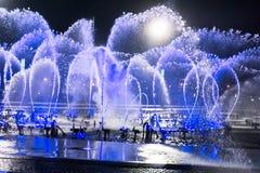 La place de fontaine de musique est à Dalian Photos libres de droits