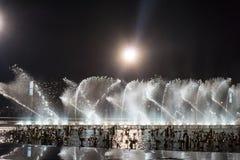 La place de fontaine de musique est à Dalian Photos stock