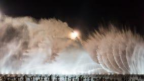 La place de fontaine de musique est à Dalian Image stock