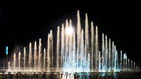 La place de fontaine de musique est à Dalian Images stock