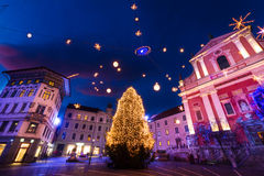 La place de Preseren, Ljubljana, Slovénie, l'Europe. Photo stock