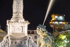 La place de Rossio est le nom populaire de Pedro IV Lisbonne carrée Images stock