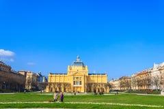 La place de théâtre, Zagreb, Croatie Images stock