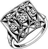 La place a placé 5 Diamond Ring Illustration Stock