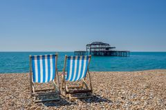 La plage à Brighton R-U photos stock