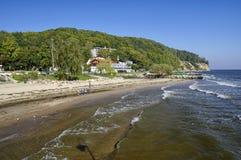La plage à Gdynia Orlowo à la baie de mer baltique en Pologne, l'Europe Photo stock