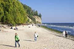 La plage à Gdynia Orlowo à la baie de mer baltique en Pologne, l'Europe Image stock
