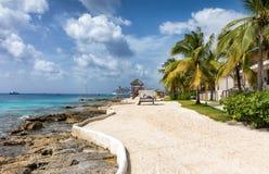 La plage artificielle de l'île de Cozumel, Yucatan Mexique image libre de droits