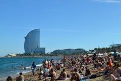 La plage Barceloneta Image libre de droits