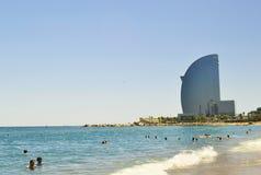 La plage Barceloneta Photographie stock libre de droits