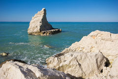 La plage célèbre des voiles de La en parc de Conero Photo libre de droits