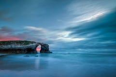 la plage Catedrais, Ribadeo, Galicie Photos stock