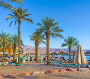 La plage confortable dans Eilat Photos libres de droits
