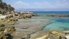 La plage de Corfou Photographie stock libre de droits