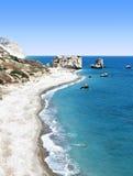 La plage de l'Aphrodite en Chypre Photos libres de droits