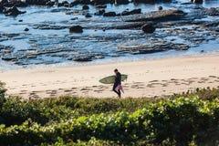 La plage de marche de surfer bascule la végétation Image stock
