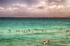 La plage de Suina de della de Punta près de Gallipoli dans Salento Pouilles AIE Photo stock