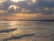 La plage des vues de Rethymno Crète Photos libres de droits