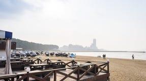 La plage du bord de la mer Momochi Image libre de droits