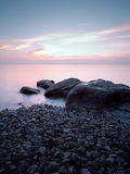 La plage en soirée Photo stock