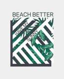 La plage meilleure ont mon slogan ensoleillé Illustration tropicale Perfectionnez pour le décor à la maison tel que des affiches, illustration de vecteur