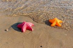 La plage ondule des étoiles de mer et des jouets colorés Image stock
