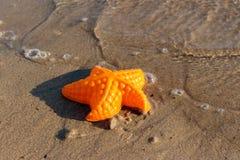 La plage ondule des étoiles de mer et des jouets colorés Images stock