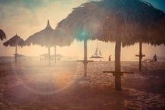 La plage Palapa a donné une consistance rugueuse Images libres de droits