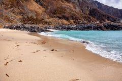 La plage sablonneuse en Norvège du nord Photo libre de droits