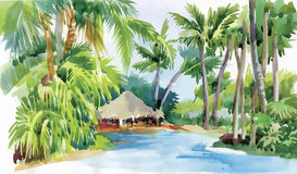 La plage tropicale d'aquarelle avec des palmiers et la hutte dirigent l'illustration Photos stock
