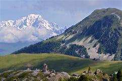 La Plagne山景在法国 库存图片