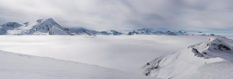 La Plagne - alpint landskap Arkivfoto