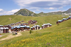 La Plagne village in France Stock Photos