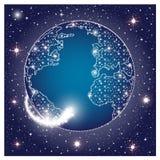 La planète de la terre dans l'espace foncé avec l'étincelle rougeoyante se tient le premier rôle Illustration de vecteur Photographie stock