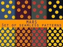 La planète Mars Ensemble de configurations sans joint Pour le papier peint, linge de lit, tuiles, tissus, milieux Photo stock