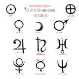La planète tirée par la main et l'astrologie de croquis chantent l'ensemble d'icône illustration stock