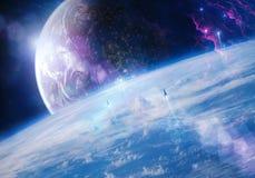 La plan?te artistique unique lisse coule dans un beau fond doux de galaxie illustration de vecteur