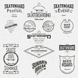 La planche à roulettes badges des logos et des labels pour utilisation Images libres de droits