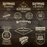 La planche à roulettes badges des logos et des labels pour utilisation Photo stock