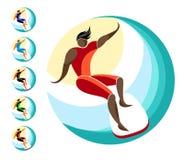 la planche de surf sur un conseil glisse sur une vague dans la perspective du soleil et du ciel, emblème en cercle illustration de vecteur