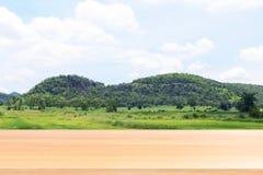 La plancia di legno sulla sierra vaga della montagna e sul fondo molle dell'albero forestale, pavimenti di legno vuoti della tavo fotografie stock