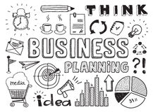 La planificación de empresas garabatea elementos Imagen de archivo